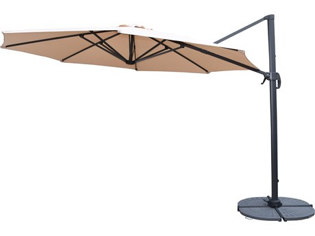 Oakland Living Beige Aluminum 11 Ft. Cantilever Umbrella and Stands 5 Pc. Set Includes a Cantilever Umbrella with 360 Degree Revert & Crank with Four Black Casted Polyresin Heavy Duty Weights