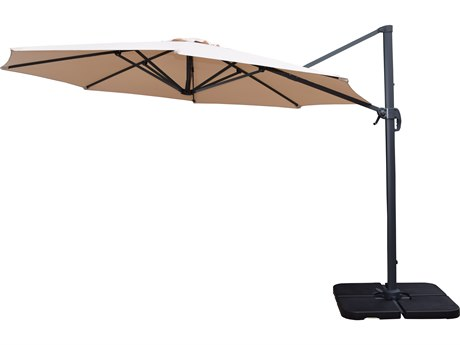 Oakland Living Beige Alumiunum 11 Ft. Cantilever Umbrella and Stands 5 Pc. Set Includes a Cantilever Umbrella with 360 Degree Revert & Crank with Four Pcs. WATER or SAND Fillable Polyresin Heavy Duty Weights