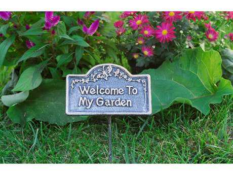 Oakland Living Garden Marker Welcome To My Garden in Antique Pewter