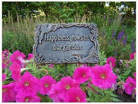 Oakland Living Garden Marker Happiness Grows In Our Garden in Antique Bronze