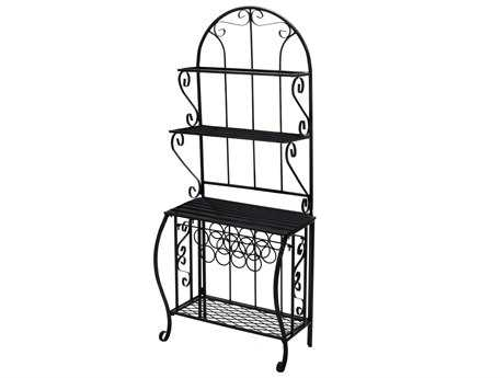 Oakland Living Wrought Iron Baker Rack with Wine Holder
