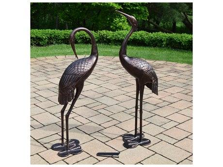 Oakland Living Cast Aluminum Beloved Standing Crane Couple Statue Pair