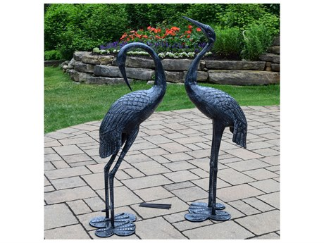 Oakland Living Cast Aluminum Beloved Standing Crane Couple Statue