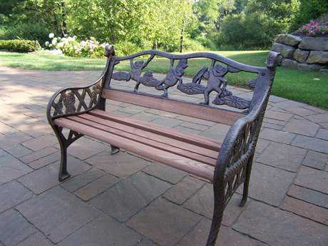 Oakland Living Frogs Cast Iron Garden Decorative Bench with Frog Design
