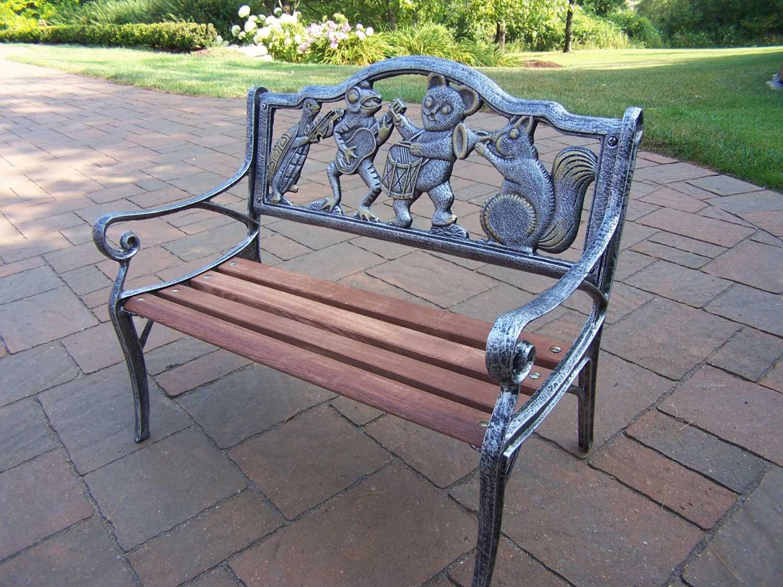 oakland living animals cast iron garden decorative bench with animal band design 6010 ap. Black Bedroom Furniture Sets. Home Design Ideas