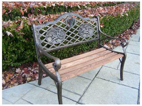 Oakland Living Cast Iron Garden Decorative Kid Sized Bench with Angel Design