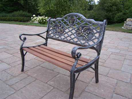 Oakland Living Cast Iron Garden Decorative Kid Sized Bench with Angel Design in Antique Pewter