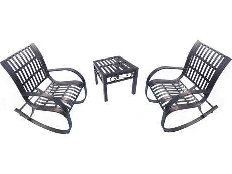 Oakland Living Noble Wrought Iron Rocking Chairs 3 Pc. Set