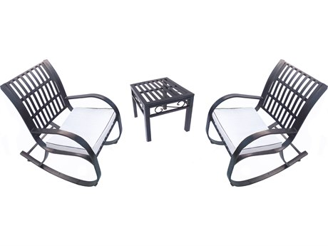 Oakland Living Noble Extrunded Iron Rocking Chairs 3 Pc. Set