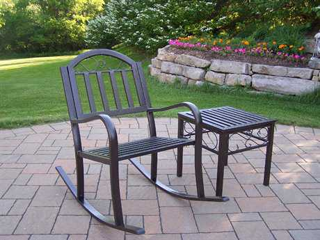 Oakland Living Rochester Extrunded Iron Rocking Chair and a Side Table 2 Pc. Set