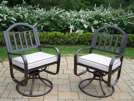 Oakland Living Rochester Wrought Iron Swivel Chairs with Cushions Pack of 2