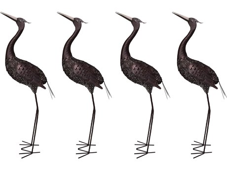 Oakland Living Animal Hammer Tone Bronze Steel 4 Pack Upward Facing Crane Bird Sculpture Statue with Solar Light and Ground Stake