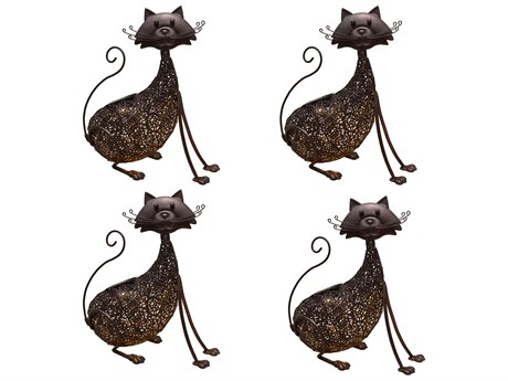 Oakland Living Animal Hammer Tone Bronze Steel 4 Pack Cat Feline Sculpture Statue with Solar Light and Ground Stake