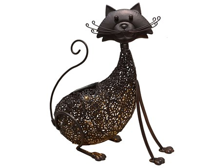 Oakland Living Animal Hammer Tone Bronze Steel Cat Feline Sculpture Statue with Solar Light and Ground Stake