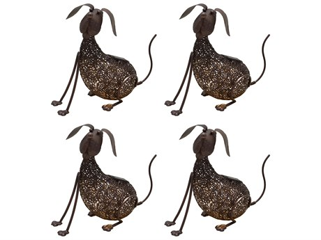 Oakland Living Animal Hammer Tone Bronze Steel 4 Pack Dog Puppy Sculpture Statue with Solar Light and Ground Stake