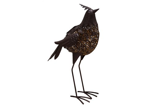 Oakland Living Animal Hammer Tone Bronze Steel Bird Sculpture Statue with Solar Light and Ground Stake