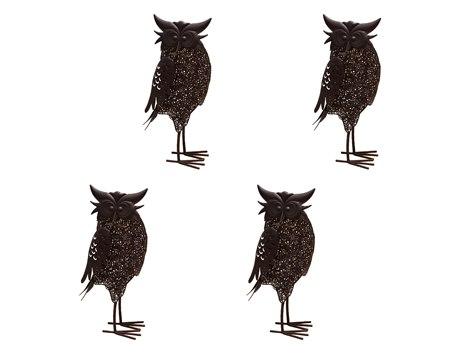 Oakland Living Animal Hammer Tone Bronze Steel 4 Pack Owl Bird Sculpture Statue with Solar Light and Ground Stake