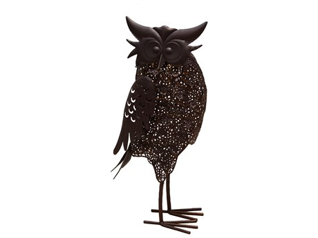 Oakland Living Animal Hammer Tone Bronze Steel Owl Bird Sculpture Statue with Solar Light and Ground Stake