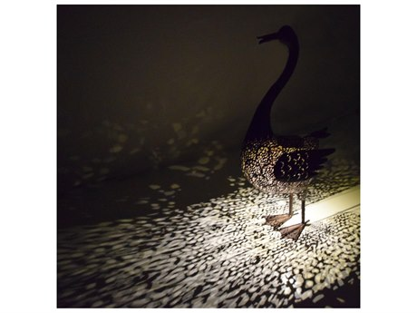 Oakland Living Animal Hammer Tone Bronze Steel Duck Sculpture Statue with Solar Light and Ground Stake