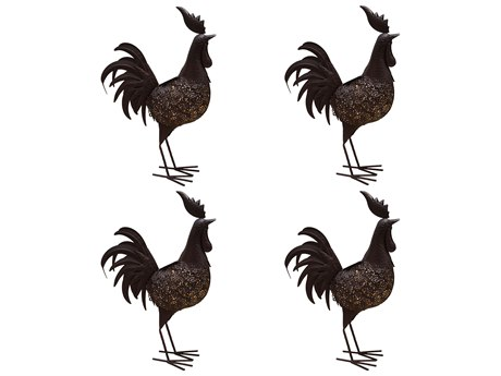 Oakland Living Animal Hammer Tone Bronze Steel 4 Pack Rooster Sculpture Statue with Solar Light and Ground Stake