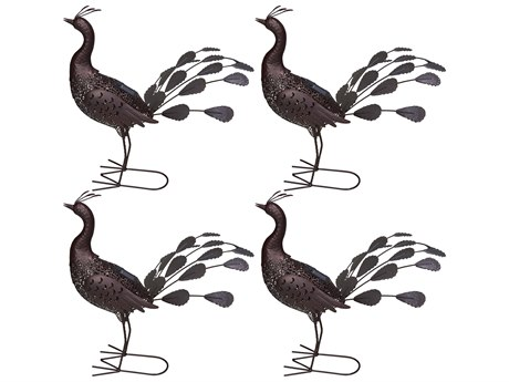 Oakland Living Animal Hammer Tone Bronze Steel 4 Pack Peacock Sculpture Statue with Solar Light and Ground Stake