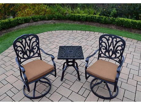Oakland Living Hampton Aluminum Swivel Rocker 3 Pc. set complete in Mildew Resistant Sunbrella Cushions