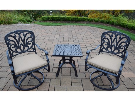 Oakland Living Hampton Aluminum Swivel Rocker 3 Pc. set complete in Spun Polyester Cushions