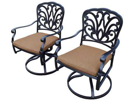 Oakland Living Pair of Hampton Aluminum Swivel Rockers in Mildew Resistant Sunbrella Cushions