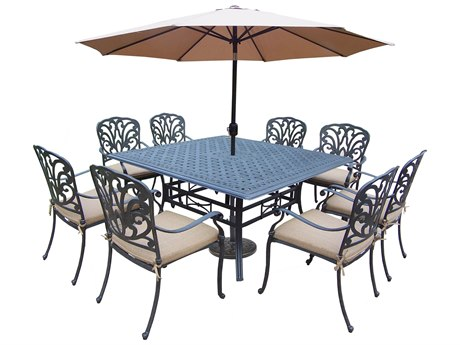 Oakland Living Hampton Aluminum 11 Pc. Dining set with 60-inch Square Table