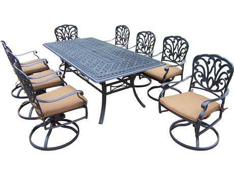 Oakland Living Hampton Aluminum 9 Pc. Dining set with Mildew Resistant Sunbrella Cushion