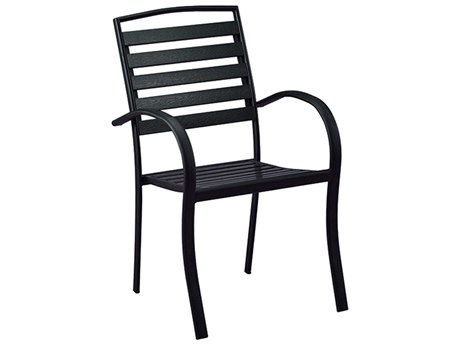 Oakland Living Black Steel Faux Wood Slatted Dining Arm Chair