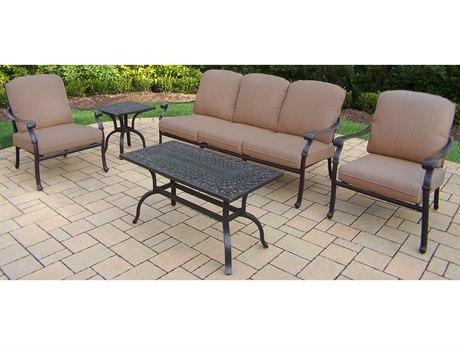Oakland Living Hampton Aluminum Deep Sitting 5 Pc. Chat set in Mildew Resistant Sunbrella Cushions