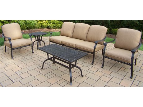 Oakland Living Hampton Aluminum Deep Sitting 5 Pc. Chat set in Spun Polyester Cushions