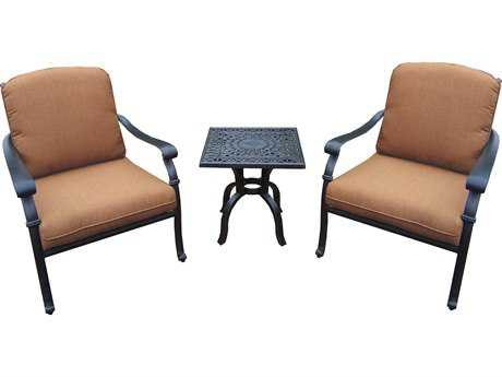 Oakland Living Hampton Aluminum Deep Sitting 3 Pc. Chat set in Mildew Resistant Sunbrella Cushion