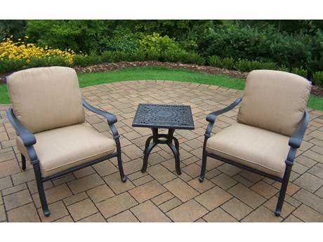 Oakland Living Hampton Aluminum Deep Sitting 3 Pc. Chat set in Spun Polyester Cushion