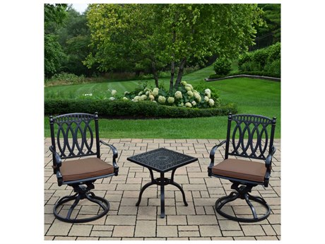 Oakland Living Morocco Aluminum Swivel Rocker 3 Pc. set with 2 fade and mildew resistant Sunbrella cushioned