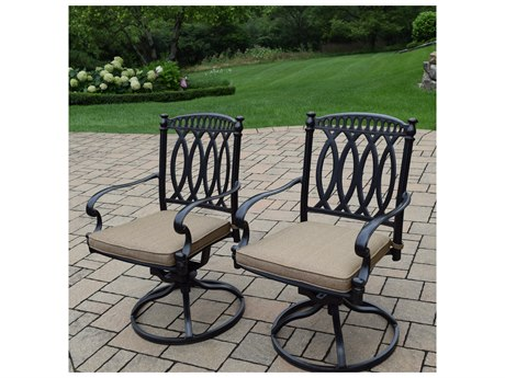 Oakland Living Morocco Aluminum Swivel Rockers with 2 Durable Spun Polyester Cushions