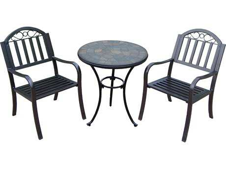 Oakland Living Stone Art Rochester Wrrough Iron 3 Pc. Bistro Set