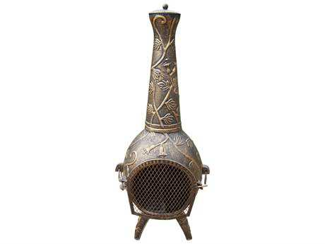 Oakland Living Chimenea Leaf Cast Iron 45-inch tall with Built-in Handles