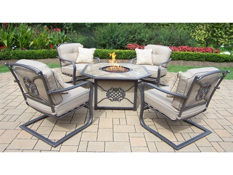 Oakland Living Traditional Aluminum Deep Seating 5 Pc. Chat Set