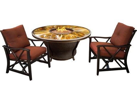 Oakland Living Novara Antique Bronze Aluminum 2 Piece Fire Pit Lounge Set