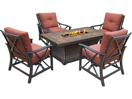 Oakland Living Vienna Aluminum Gas Firepit Table Deep Seating 5 Pc. Chat set