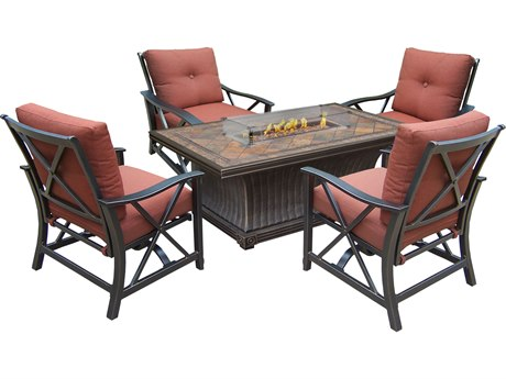 Oakland Living Vienna Aluminum Gas Firepit Table Deep Seating 6 Pc. Chat set