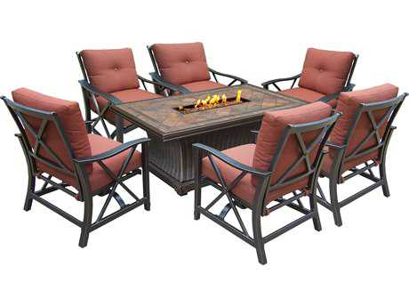 Oakland Living Vienna Aluminum Gas Firepit Table Deep Seating 7 Pc. Chat set