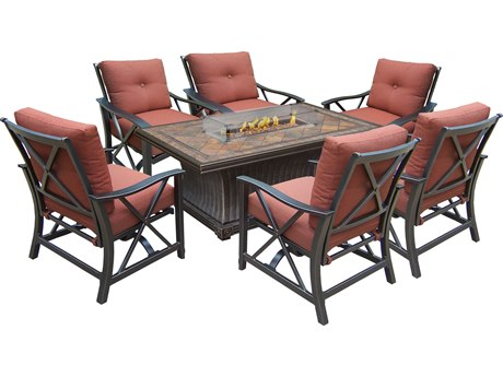 Oakland Living Vienna Aluminum Gas Firepit Table Deep Seating 8 Pc. Chat set