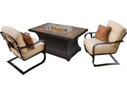 Belle Pierre Antique Bronze Aluminum 3 Piece Fire Pit Lounge Set