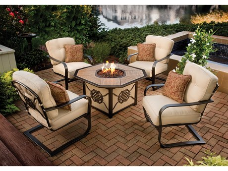Oakland Living Heritage Aluminum 5 Pc. Chat set includes 43.25x23.5 inch Octagon Gas Firepit Table