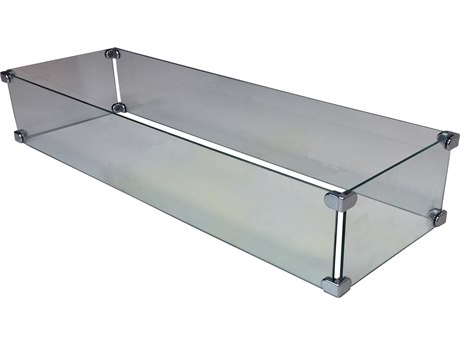 Oakland Living Fire Table Rectangular Glass Wind Blocker