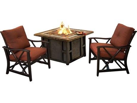 Oakland Living Maris Antique Bronze Aluminum 3 Piece Fire Pit Lounge Set