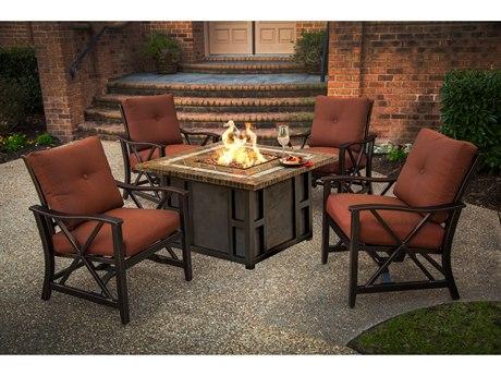 Oakland Living Maris Antique Bronze Aluminum 5 Piece Fire Pit Lounge Set